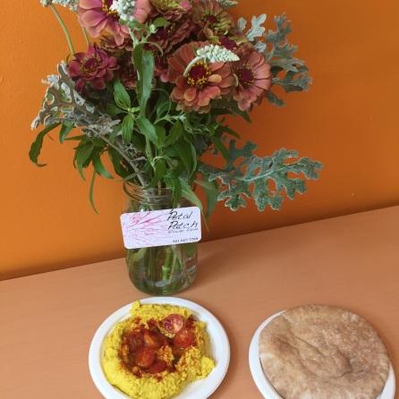We love flowers + hummus